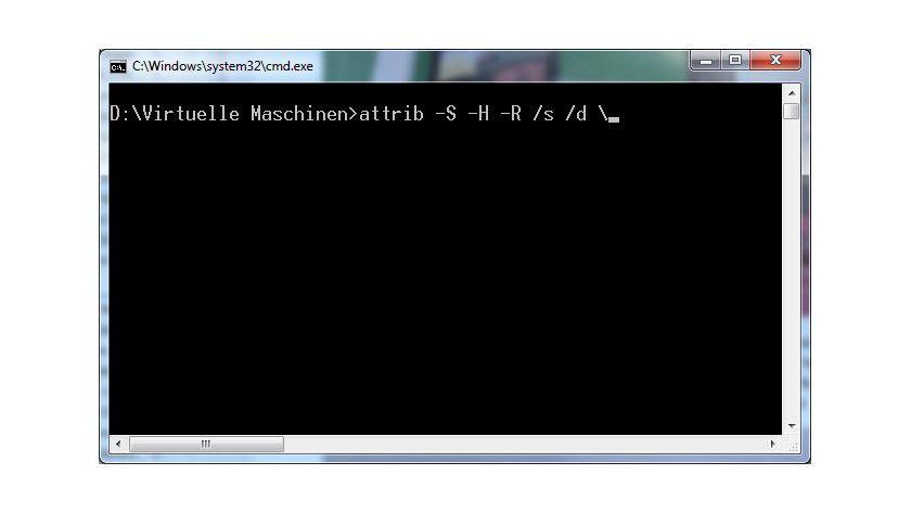 Attributsverteilung: Mit dem richtigen Befehl erhält der Ordner mit den virtuellen Maschinen wieder die passenden Rechte.