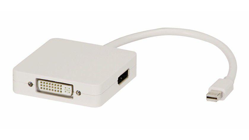 Konverter: Anwender, die ein Notebook mit MiniDP-Ausgang besitzen, können dieses mit Hilfe des Adapters per DVI oder HDMI an Anzeigegeräte anschließen.