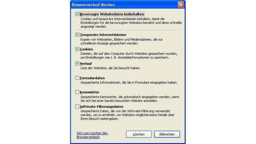 Löschen des Browser-Verlaufs: Das neue Dialogfenster Browserverlauf löschen umfasst verschiedene Optionen, mit denen genauer gesteuert werden kann, was gelöscht werden soll und was nicht.