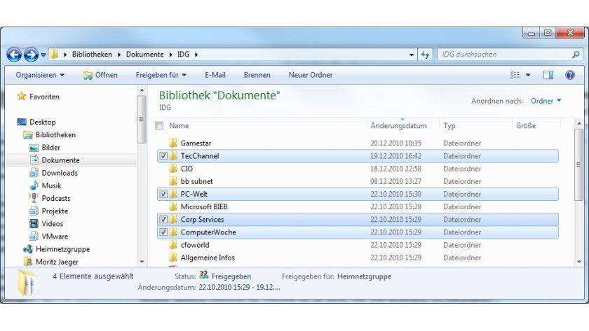 Erleichterte Auswahl: Auf Wunsch blendet Windows zu jedem Dateieintrag ein Auswahlkästchen an.