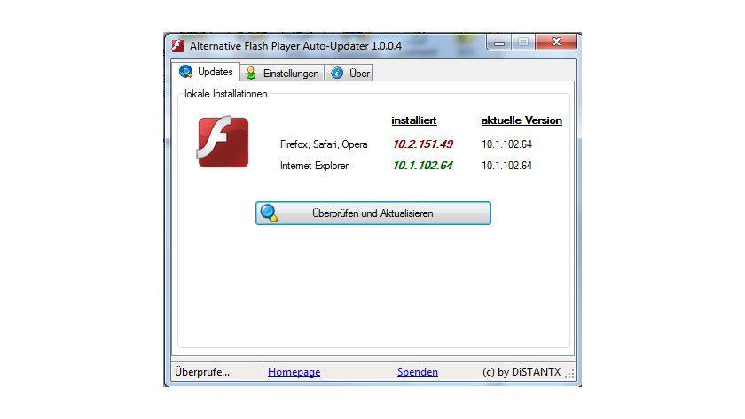 Update-Funktion: Das Tool prüft die installierte Version von Flash und informiert, wenn ein Update verfügbar ist.