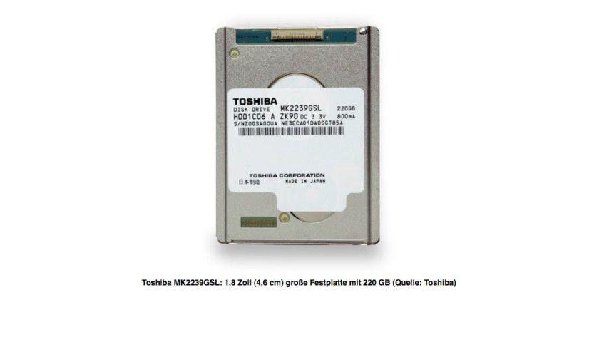 Winzling: Die kleine Toshiba-Festplatte bietet eine Speicherkapazität von 220 GByte.