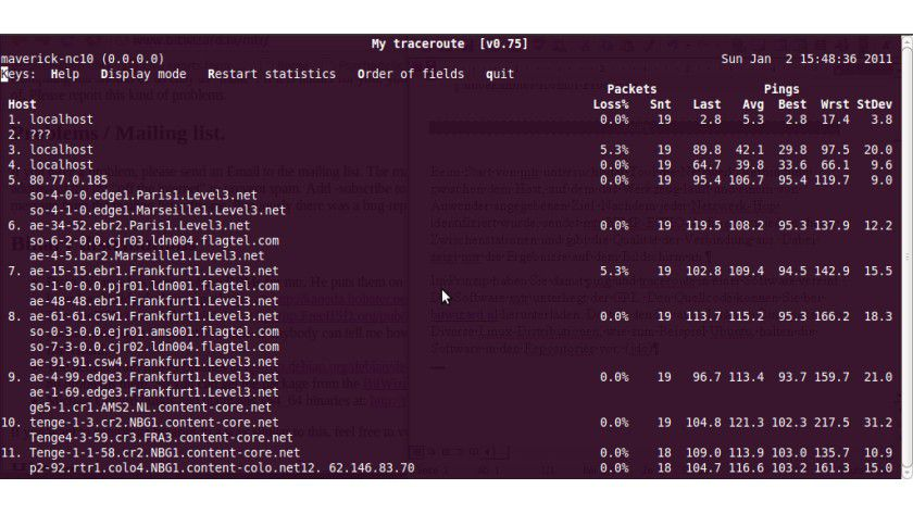 mtr: traceroute und ping in einer Anwendung.