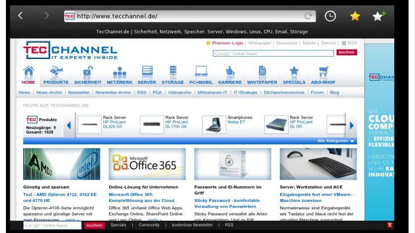 Browser-Testsystem: Der Simulator bietet einen ersten Blick auf den Browser des BlackBerry Playbook.