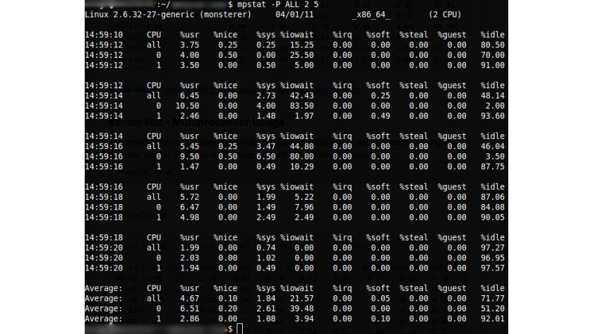 mpstat: Das Administrator-Werkzeug zeigt die Auslastung aller Prozessoren im System.