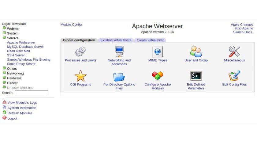 Alles im Griff: Mit Webmin lässt sich beispielsweise Apache verwalten - und vieles mehr.
