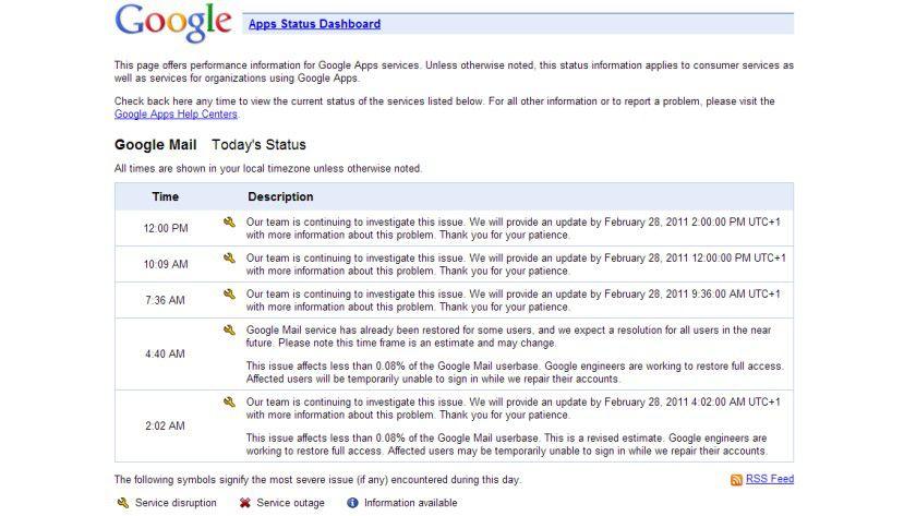 Status: Google informiert aktuell regelmäßig über neue Entwicklungen des Problems.