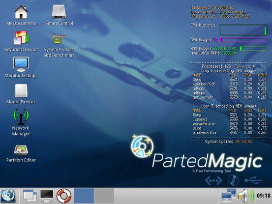 Grafisch: Parted Magic startet per Standard in eine grafische Oberfläche.