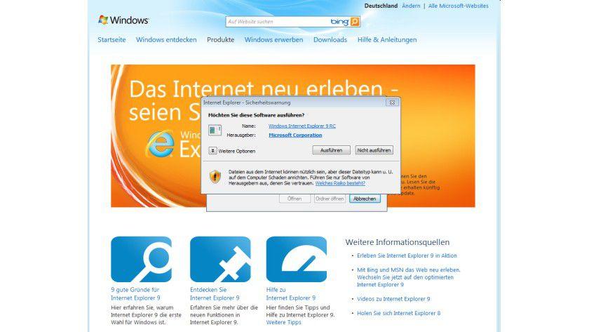 Internet Explorer - Auf der deutschen Download-Seite ist die finale Version noch nicht zu haben.