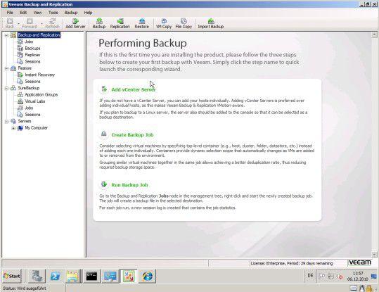 Start: Das Begrüßungsfenster von Veeam Backup & Replicant führt den Anwender durch die Backup-Prozedur.