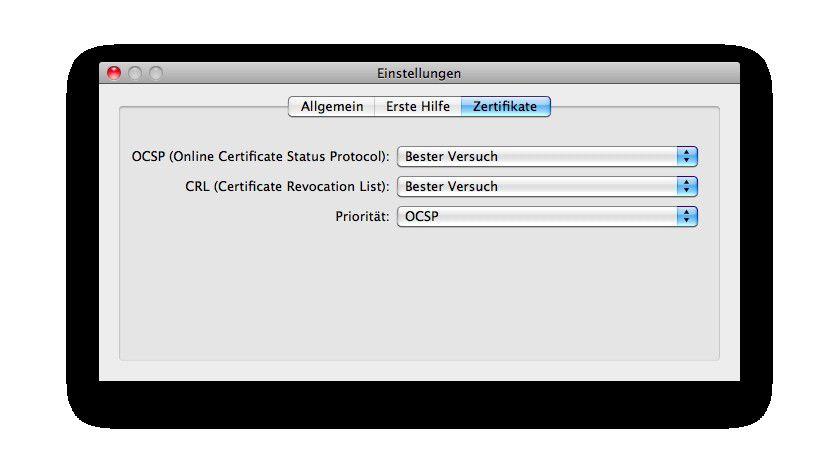 Zertifikatsprüfer: Safari kann SSL-Zertifikate nur indirekt überprüfen - dafür machen dies dann alle Programme, die den Schlüsselbund nutzen.
