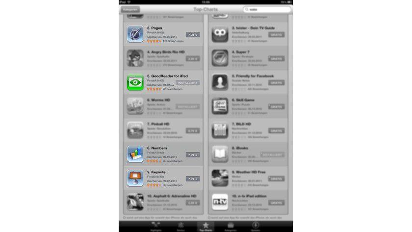 App Store Top-Charts: Unter den beliebtesten Kauf-Apps befinden sich auch Business-Anwendungen.