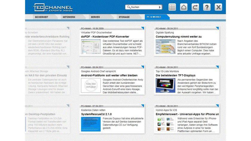 TecChannel-App für Windows 7 Tablets: Die Steuerung ist optimiert für Touchscreen-Displays.