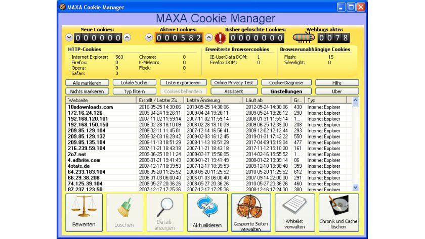 MAXA Cookie Manager: Mit dem kostenlosen Freeware-Programm können Cookies bequem kontrolliert und gegebenenfalls gelöschen werden.