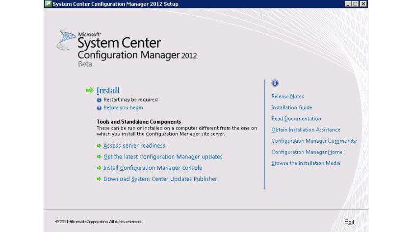 Neue Version: Hier die zentrale Installationsoberfläche des System Center Configuration Manager 2012.