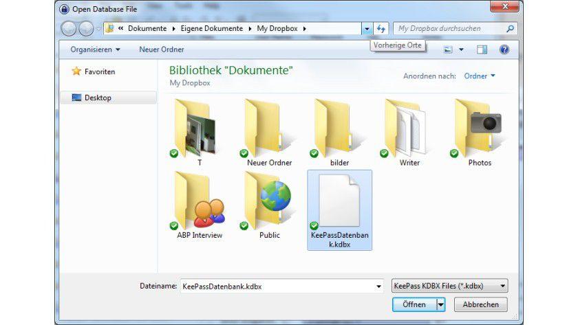 Abgeglichen: Mit Hilfe von Dropbox bleiben KeePass-Datenbanken auf allen Systemen aktuell.