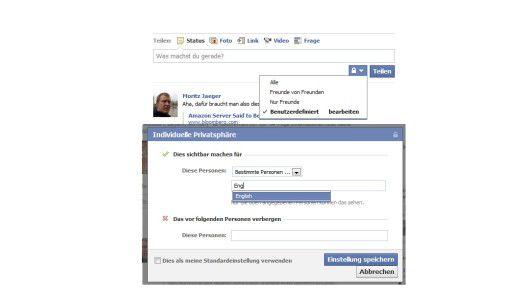 Status-Updates beschränken: Über die Einstellungen kann man auswählen, welche Freunde die Updates lesen können.
