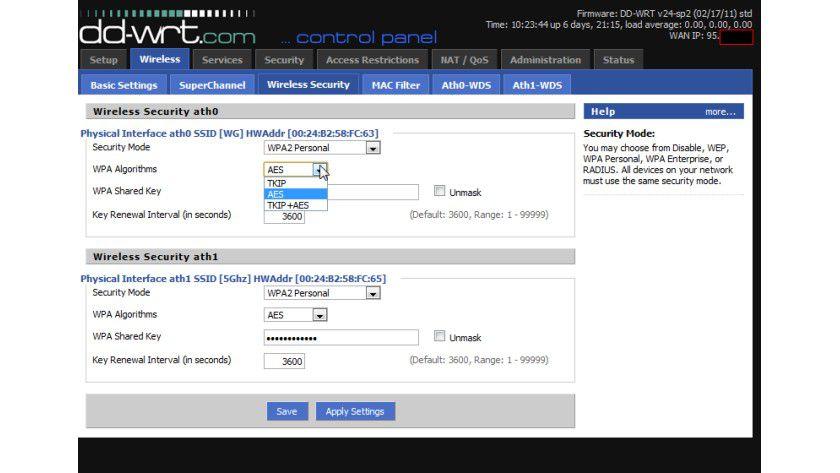 Bremse lösen: Wird das WLAN per TKIP gesichert, drosselt 802.11n automatisch die Geschwindigkeit.