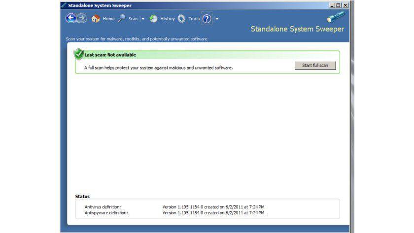 Scan in Aktion: Der Standalone System Sweeper nach dem Boot - die Software kann Malware finden und entfernen.