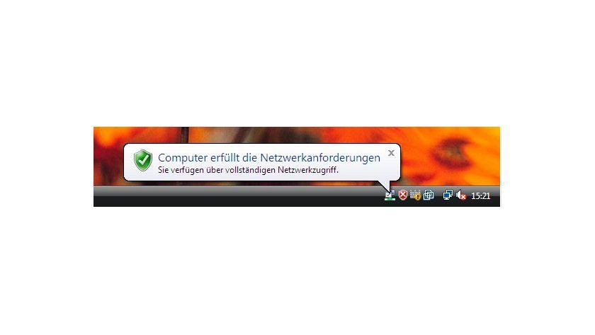 Erkennbar: Der Netzwerkzugriffschutz ist direkt in das Windows-7-Wartungscenter integriert.