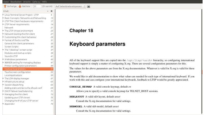 """Wichtige Hilfe: das 84-seitige Handbuch """"Administrator's Reference """", das Sie von der LTSP-Homepage herunterladen können."""