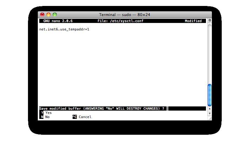 IPv6 und die Privatsphäre: Dieser Befehl aktiviert die Privacy Extensions in Mac OS X.