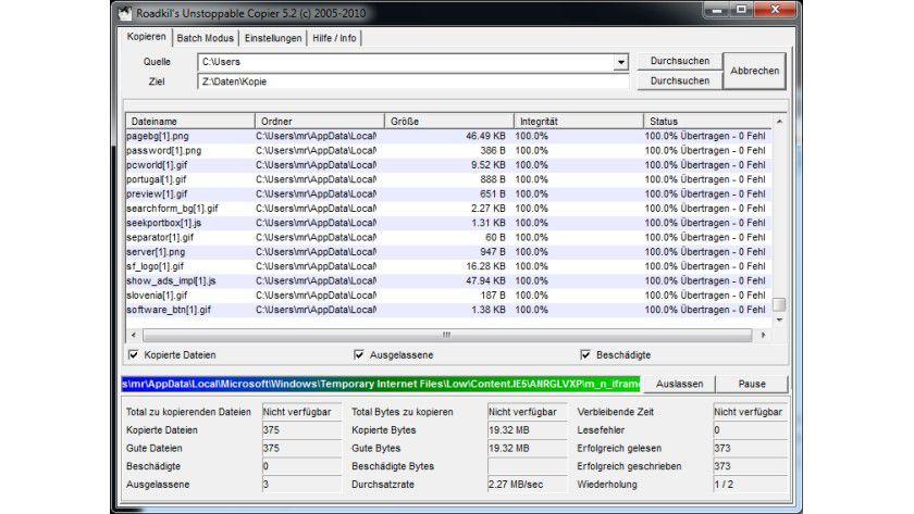 Sicher kopieren: Unstoppable Copier lässt sich parallel zum Windows-Explorer für das Kopieren von Dateien verwenden.