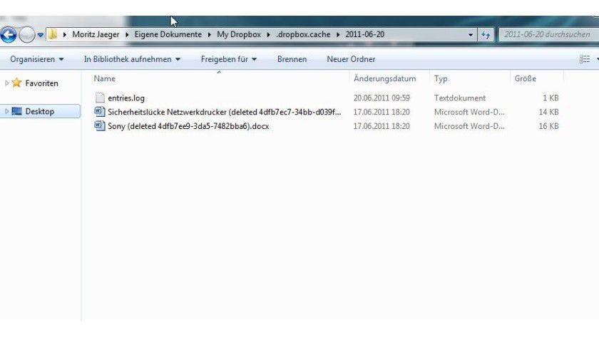 Cache löschen: Dropbox versteckt eigentlich gelöschte Dateien in einem unsichtbaren Ordner.