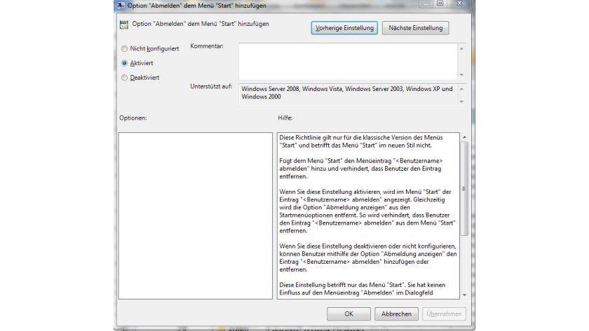 Bequemer Abmelden: Diese Gruppenrichtlinie erweitert das Startmenü um den Abmelden-Knopf.