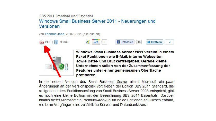 """So geht es: In den einzelnen Artikeln klicken Sie einfach oben links unter der Überschrift auf das PDF-Symbol oder den Link """"PDF""""."""