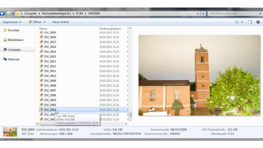 Vorschau: RAW-Bilder im Explorer ansehen? Kein Problem mit dem Kamera Codec Pack.