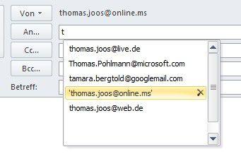 Proposition: Outlook 2010 schlägt Kontakte vor.