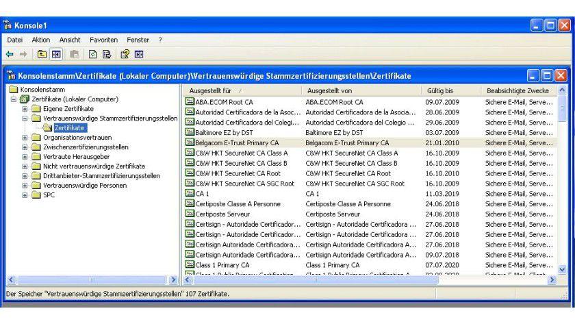 Zertifikatsverwaltung: Über das Snap-In lassen sich Zertifikate und CAs manuell entfernen.