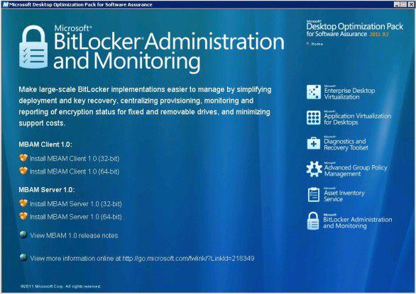 Microsoft Bitlocker Administration and Monitoring: Mit MBAM lassen sich Bitlocker-Clients zentral verwalten.