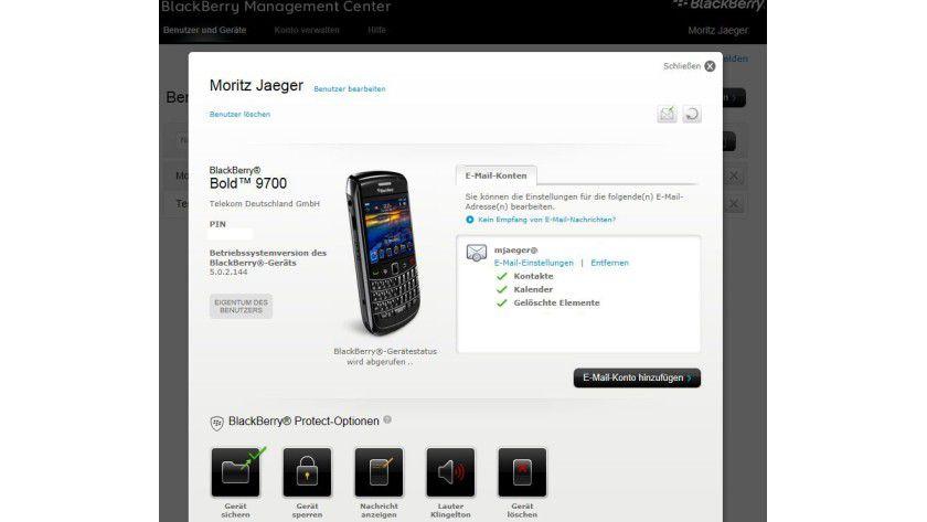Übersicht: Das BlackBerry Management Center erlaubt eine einfache, web-basierte Verwaltung von RIM-Smartphones.