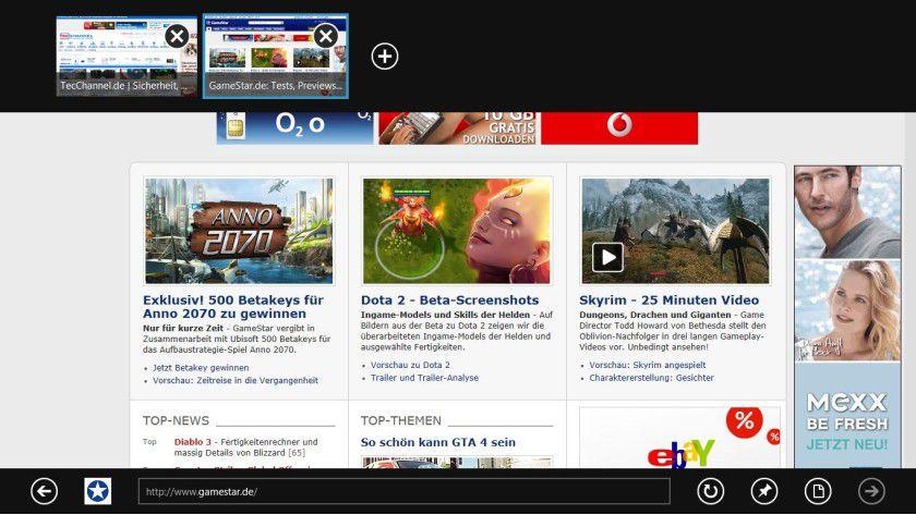 Schnell: Mit dem Internet Explorer 10 navigieren Sie zügig durch das WWW.