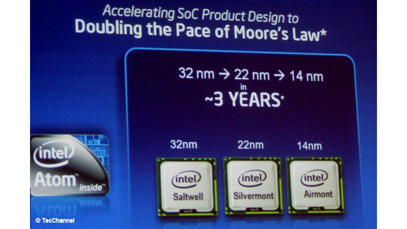 Dreijahresplan: Intel will mit den Atoms zügig in Richtung 14 nm marschieren.