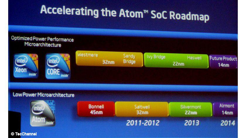 Hinterher: Noch können die Atom-Prozessoren in der Fertigungtechnologie mit den Core- und Xeon-Modellen nicht Schritt halten. Ab 2014 soll sich das ändern.
