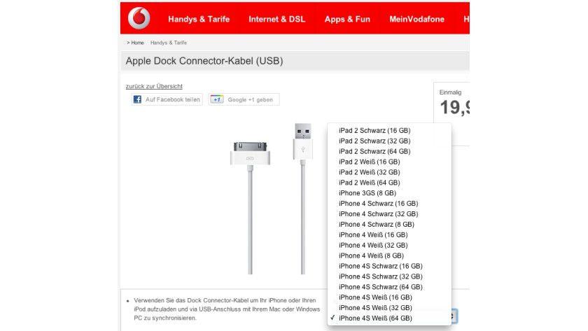 Frühe Aktualisierung: Vodafone führt die neuen Apple-Smartphones iPhone 4S und iPhone 4 mit 8 GByte Speicher bereits auf.