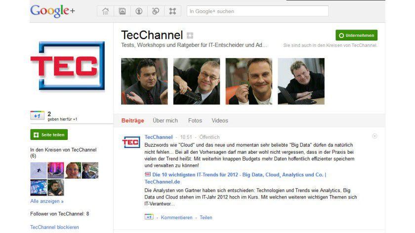 Google Plus: TecChannel finden Sie nun ebenfalls in dem sozialen Netzwerk.