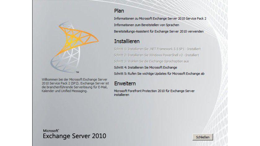 Installation: Neben Fehlerbehebungen bringt das Service Pack 2 für Exchange 2010 auch einige neue Funktionen mit.