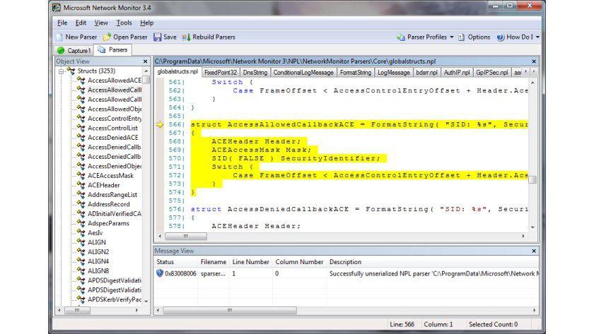 Nutzwert: Neben den Analysefunktionen des Netzwerkverkehrs bietet der Microsoft Network Monitor auch zahlreiche Parsing-Features.