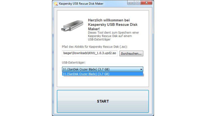 USB-Bootmedium: Die Rescue Disk lässt sich mit dem Kaspersky Tool einfach auf einen USB-Stick übertragen.