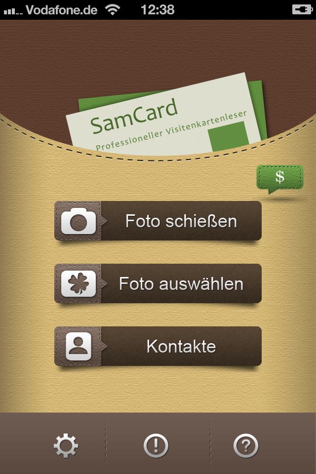 bild samcard die app erfasst visitenkarten mit der kamera und kann die aufgedruckten daten. Black Bedroom Furniture Sets. Home Design Ideas