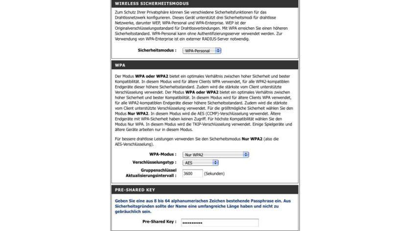 Wichtig: In aktuellen WLAN-Routern gehört die WPA2-Verschlüsselung zum Standard.