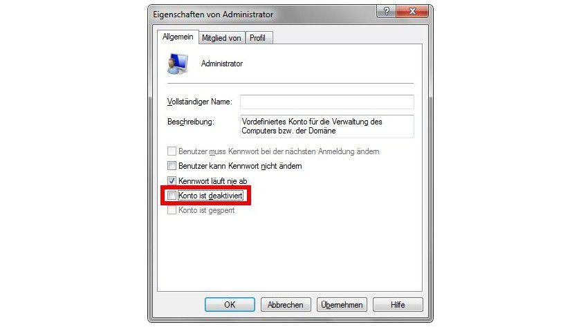 Admin: In Windows 7 Professional und Ultimate reicht es, das Häkchen vor Konto ist deaktiviert zu entfernen, um den Administrator-Account freizuschalten.