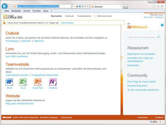 Auf einen Blick: die Office-365-Verwaltungsoberfläche im Überblick.