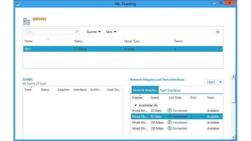 Mannschaftsspiel: Netzwerkkarten lassen sich unter Windows 8 Server im Servermanager als Team zusammenfassen.