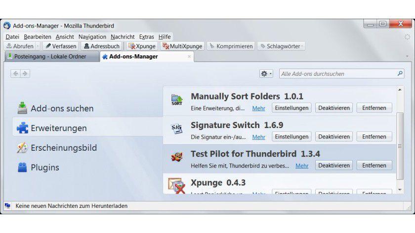 Schleudersitz: Wer den seit Thunderbird 9.0 vorinstallierten Testpiloten wieder loswerden will, muss den Add-on-Manager bemühen.