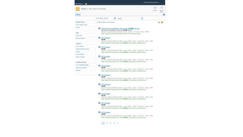 Sharepoint: Die Suchergebnisse der Webseite.